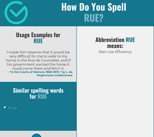 Correct spelling for rue