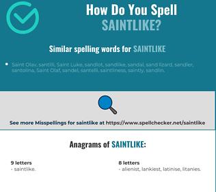 Correct spelling for saintlike