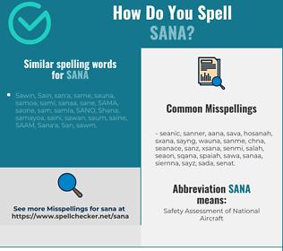 Correct spelling for sana