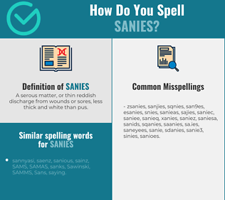 Correct spelling for sanies