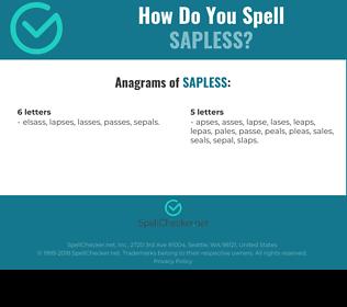 Correct spelling for sapless