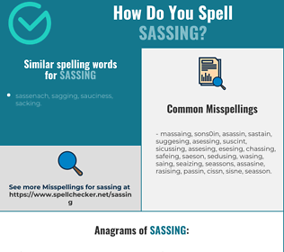 Correct spelling for sassing