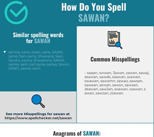 Correct spelling for sawan