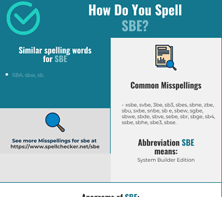 Correct spelling for sbe