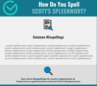 Correct spelling for Scott's Spleenwort