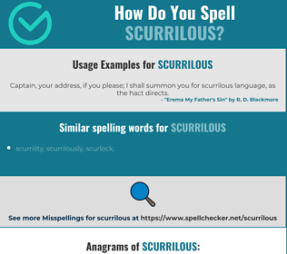 Correct spelling for scurrilous