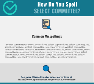 Correct spelling for select committee