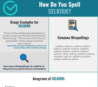 Correct spelling for selkirk