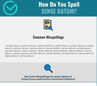 Correct spelling for sense datum