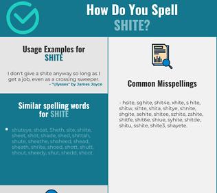 Correct spelling for shite
