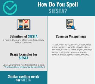 Correct spelling for siesta