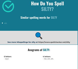 Correct spelling for silty