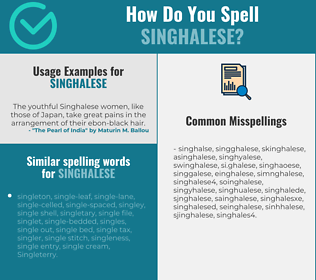 Correct spelling for singhalese