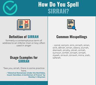 Correct spelling for sirrah