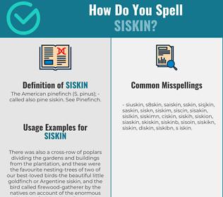 Correct spelling for siskin