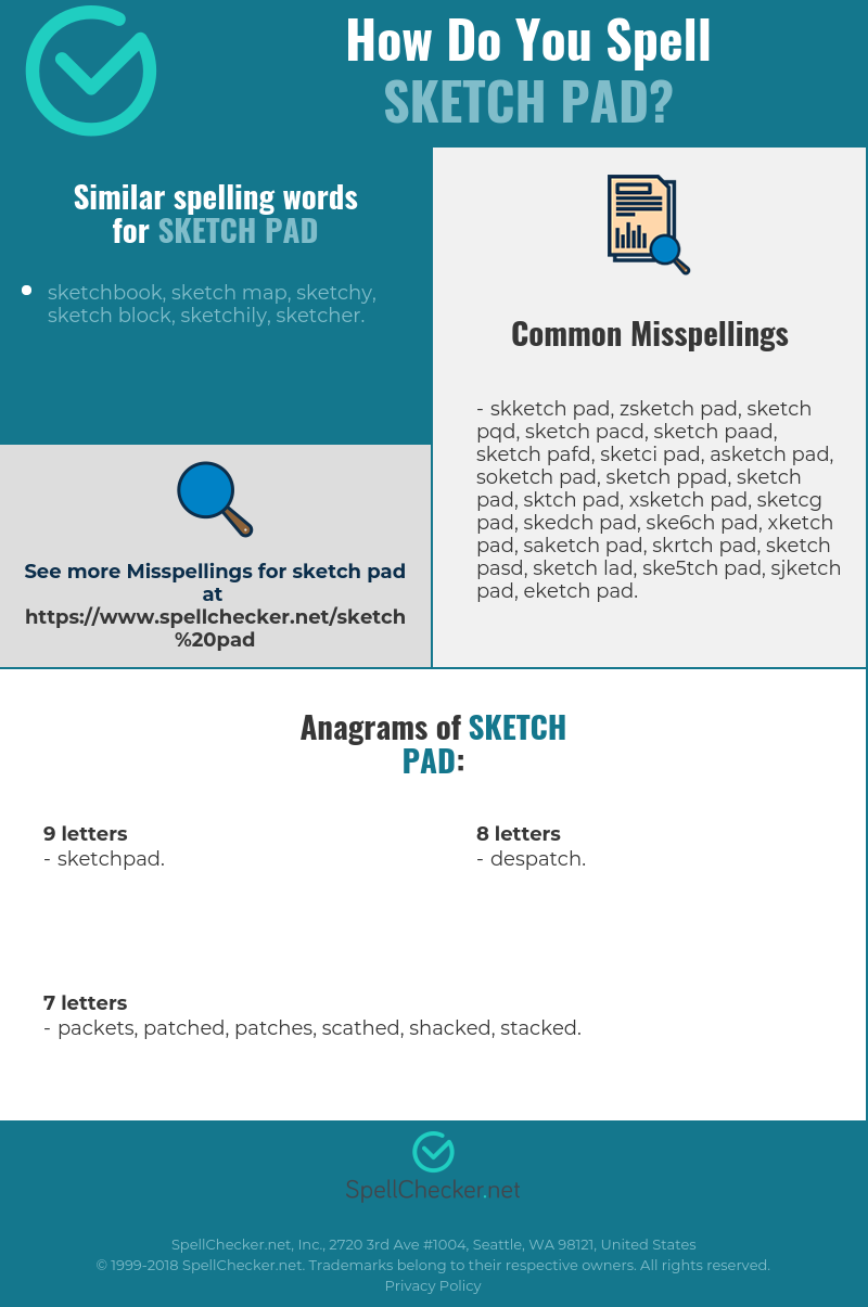 Correct spelling for sketch pad [Infographic] | Spellchecker net