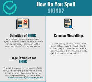 Correct spelling for skink