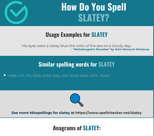 Correct spelling for slatey