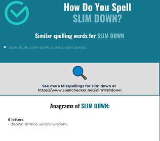 Correct spelling for slim down