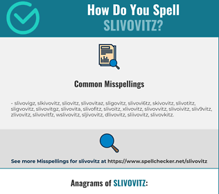 Correct spelling for slivovitz