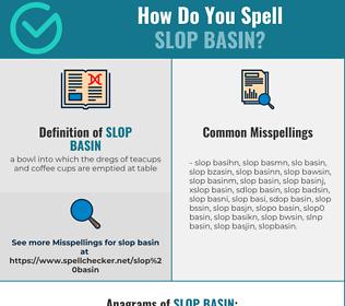 Correct spelling for slop basin