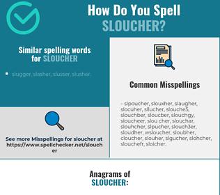 Correct spelling for sloucher