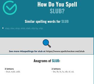 Correct spelling for slub
