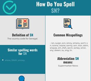Correct spelling for sn