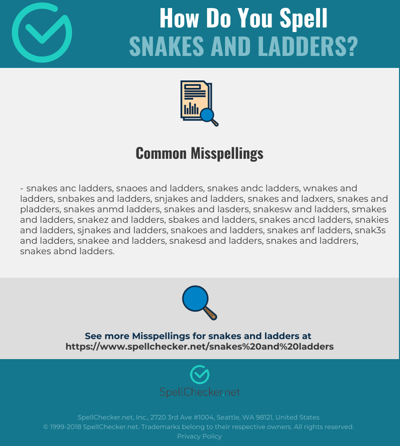 Correct spelling for snakes and ladders [Infographic] | Spellchecker net