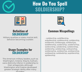 Correct spelling for soldiership