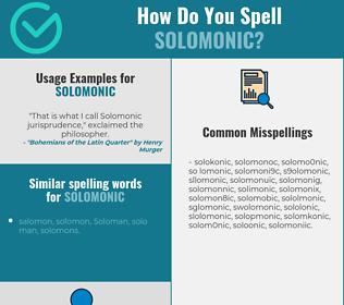Correct spelling for solomonic