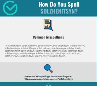 Correct spelling for solzhenitsyn