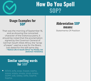 Correct spelling for sop