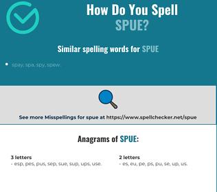 Correct spelling for spue
