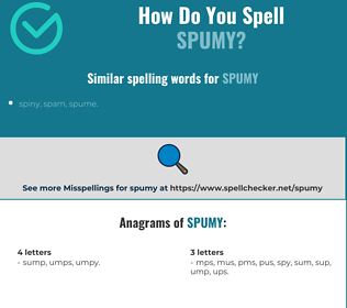 Correct spelling for spumy