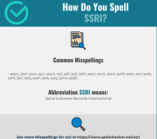 Correct spelling for ssri