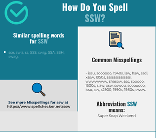 Correct spelling for ssw