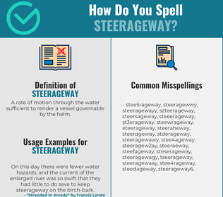 Correct spelling for steerageway