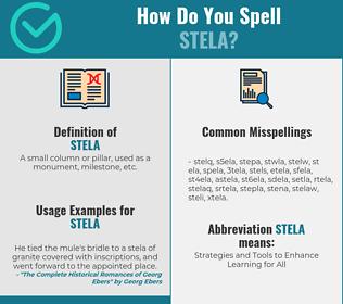 Correct spelling for stela