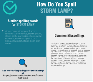 Correct spelling for storm lamp