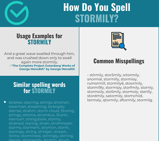 Correct spelling for stormily