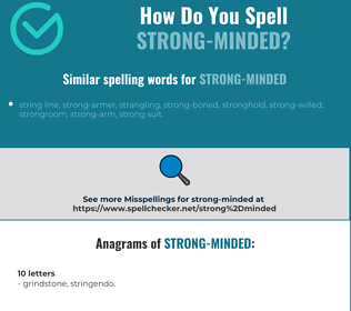 Correct spelling for strong-minded