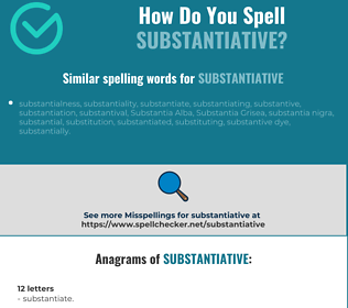 Correct spelling for substantiative