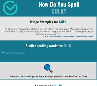 Correct spelling for sulk