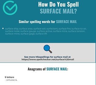 Correct spelling for surface mail