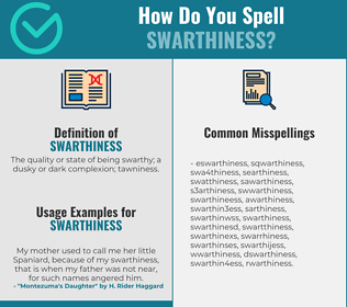 Correct spelling for swarthiness