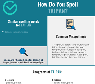 Correct spelling for taipan