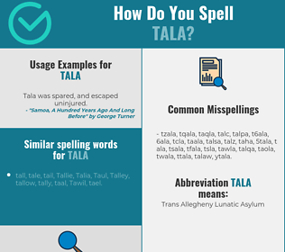 Correct spelling for tala