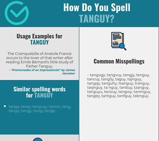 Correct spelling for tanguy