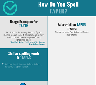 Correct spelling for taper